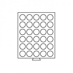 Bandeja para monedas 30 divisiones redondas de 37 mm Ø, color humo