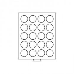 Bandeja para monedas 20 divisiones redondas de 38 mm Ø, color humo