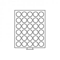 Bandeja para monedas 30 divisiones redondas de 39 mm Ø, color humo