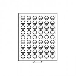 Bandeja para monedas 54 divisiones redondas de 26 mm Ø, gris