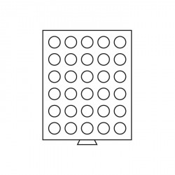 Bandeja para monedas 30 divisiones redondas de 34 mm Ø, gris