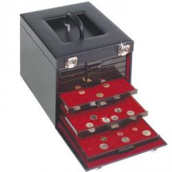 Maletín de polipiel negro para 10 bandejas de Monedas