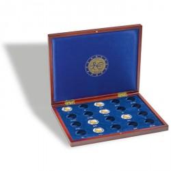 Estuche para monedas VOLTERRA UNO de Luxe, para 20 monedas de 2€ 10 años de la UEM en cáps.