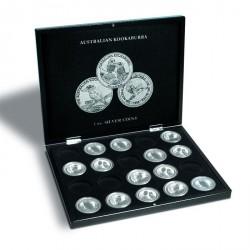 Estuche para 20 monedas de plata Kookaburra en cápsulas, negro