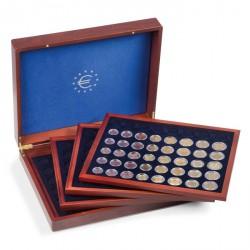 Estuche VOLTERRA QUATTRO para 24 series de monedas en euros en cápsulas, acaobado