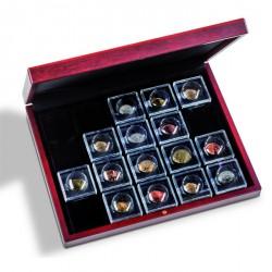Estuche VOLTERRA UNO para 20 cápsulas de moneda MAGNICAPS, de madera color caoba