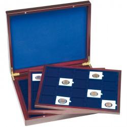 Estuche para monedas VOLTERRA TRIO de Luxe, cada una p.20 QUADRUM cápsulas 50x50 mm, azul.
