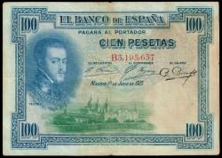 100 Pesetas 1925 Felipe II Resello República BC+