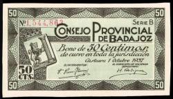 Consejo Provincial de Badajoz 1937 50 Céntimos S/C-