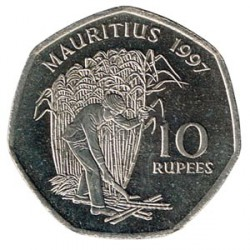 Mauricio 1997 10 Rupias (Azúcar de Caña) S/C