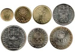 Portugal 2001 7 valores (1,5,10,20,50,100 y 200 Escudos) S/C