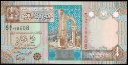 Libia 1/4 Dinar PK 62 (2.002) S/C