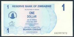 Zimbabwe 1 Dólar Cheque Pk 37 (1-9-2.006) S/C