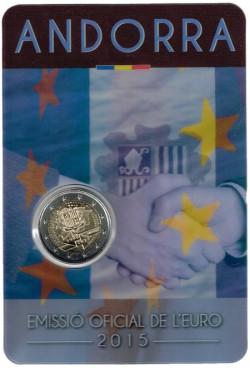 Andorra 2015 2 Euros. 25 Aniversario Acuerdo Aduanero S/C