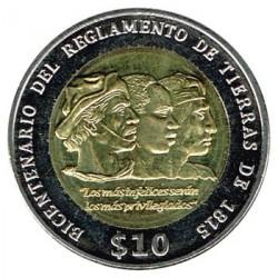 Uruguay 2015 10 Pesos. Bimetálica. (Reglamento de Tierras ) S/C