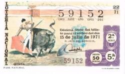"""1971 Año Completo Lotería Nacional """"La Tauromaquia"""" S/C"""