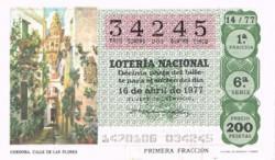 """1977 Año Completo Lotería Nacional """"Provincias de España"""" S/C"""