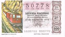 """1979 Año Completo Lotería Nacional """"Medios de transporte"""" S/C"""