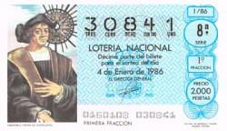 """1986 Año Completo Lotería Nacional """"El Proyecto de Colón"""" S/C"""
