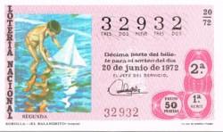 """1972 Año Completo Lotería Nacional """"El Niño en el Arte Español"""" S/C"""