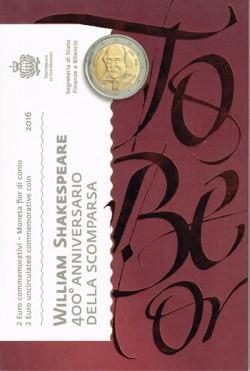 San Marino 2016 2 Euros Shakespeare S/C