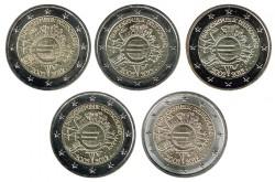 Alemania 2012 2 Euros. Las 5 Cecas.10 Años de Circulación del Euro S/C