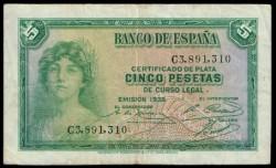 5 Ptas 1935 República MBC