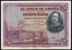 50 Ptas 1928 Velázquez MBC+