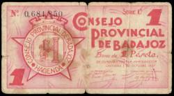 Consejo Provincial de Badajoz 1937 1 Peseta Serie BC-