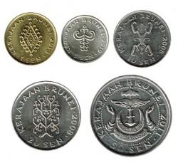 Brunei 2008 - 2013 5 valores (1,5,10,20 y 50 Sen) S/C