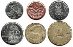 Nueva Zelanda 2000 - 2006 5 valores (5,10,20 y 50 Centavos. 1 Dólar.) S/C
