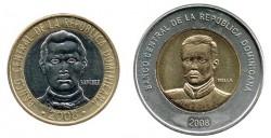 Rep. Dominicana 2008 2 valores (5 y 10 Pesos) S/C
