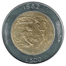 San Marino 1982 500 Liras. Bimétalica (FAO) S/C