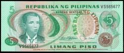 Filipinas 5 Piso PK 160b (1.970´s) S/C