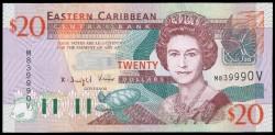 Est. Caribeños del Este (San Vicente) 20 Dólares PK 44v (2.003) S/C