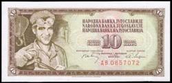 Yugoslavia 10 Dinares PK 82c (1.968) S/C