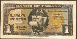 1 Peseta 1940 Carabela Santa Maria. MBC+