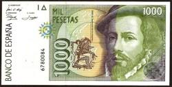 1000 Pesetas 1992 Hernán Cortés / Pizarro S/C Sin Serie