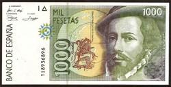 1000 Pesetas 1992 Hernán Cortés / Pizarro S/C