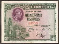 500 Pesetas 1928 Cardenal Cisneros MBC+