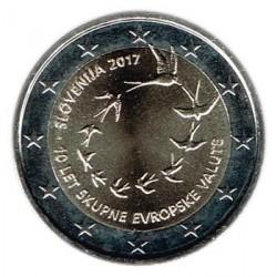 Eslovenia 2017 2 Euros. 10 Aniv. del euro en Eslovenia S/C