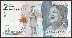 Colombia 2.000 Pesos PK Nuevo (19-8-2.015) S/C