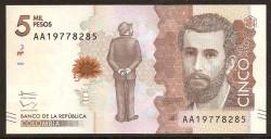 Colombia 5.000 Pesos PK Nuevo (19-8-2.015) S/C
