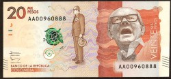 Colombia 20.000 Pesos PK Nuevo (19-8-2.015) S/C