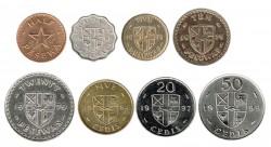 Ghana 1967-1999 8 valores (0.5,2.5,5 y 20 pesewas, 5,20 y 50 Cedis) EBC+