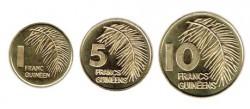 Guinea 1985 3 valores (1,5 y 10 Francos) S/C