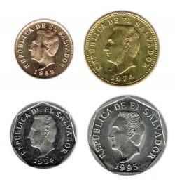 El Salvador 1974 - 1994 4 valores (1,3,5 y 10 Centavos) S/C-