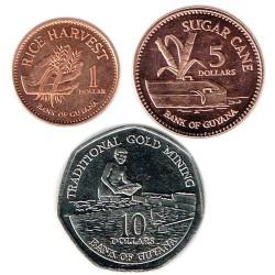 Guyana 2005 - 2007 3 valores (1,5 y 10 Dólares) S/C