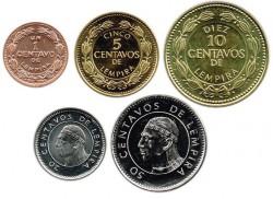 Honduras 1985 - 2006 5 valores (1,5,10,20 y 50 Centavos. S/C