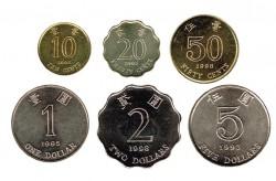 Hong Kong 1993-1998 6 valores (10,20 y 50 Cent. 1,2 y 5 Dólares) S/C